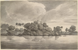 The Fakirs Rock in the Ganges near Sultanganj (Bihar) . 22 September 1803